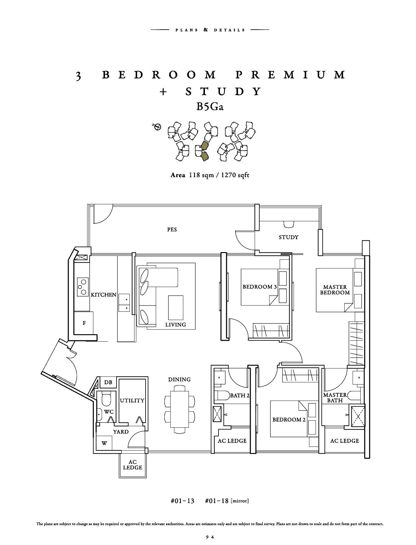 70 St Patrick's 3 Bedroom Premium + Study Floor Plans Type B5Ga