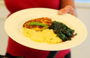 Parmesan and Sage Crusted Pork Chops with Cheesy Polenta & Red Swiss Chard ($10 or less meal)