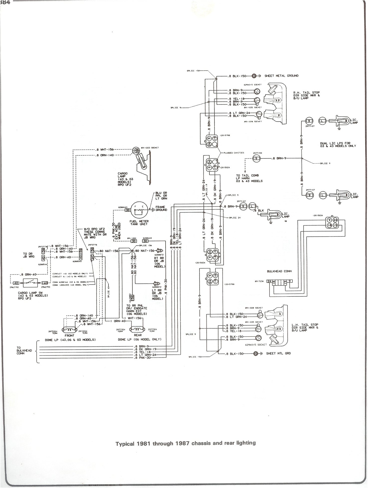 Plete 73 87 wiring diagrams 81 87 chassis and rear lighting