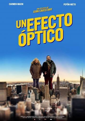 """Sinopsis: Alfredo y Teresa son un matrimonio de Burgos que viaja a Nueva York con la intención de """"desconectar"""" y hacer todos los planes que vienen en la guía. Pero nada más aterrizar empiezan a percibir señales, sutiles y no tanto, de que en realidad no están en la ciudad que les vendieron en la agencia. ¿Dónde están entonces? La película está protagonizada por Carmen Machi y Pepón Nieto, junto con Luis Bermejo y Lucía Juárez. En breve os seguiremos informando de Un efecto óptico"""
