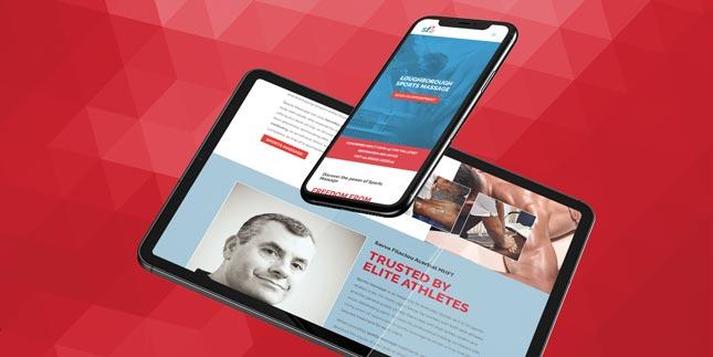 Ipad showing SF Sports Massage Website by 77 Rockets