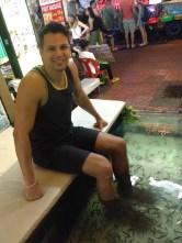 Fish massage at Khao San Road, Bangkok, Thailand. It does feel weird though...