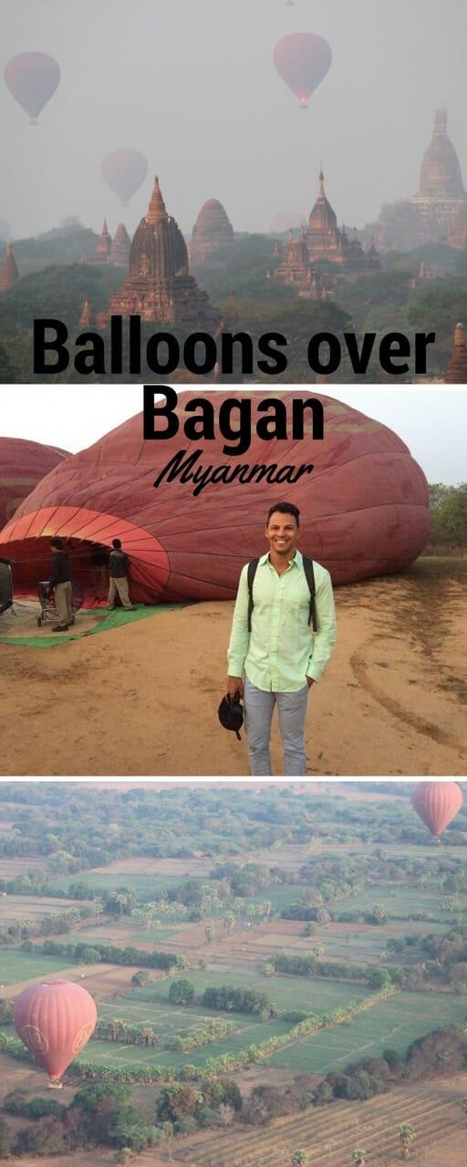 Riding a hot air balloon in Bagan, Myanmar.