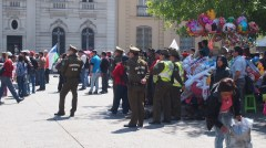 Peaceful demonstration in Plaza de Armas - still Santiago policia ever vigilant.