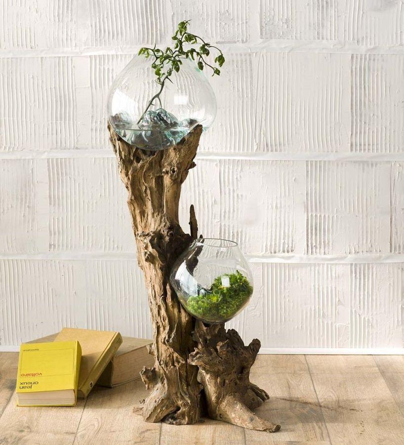 Hand Blown Glass Bowls And Driftwood Art Sculpture 7 Gadgets