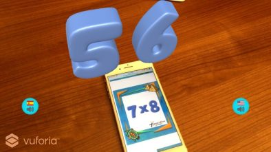 Numbers in AR app showing answer to 7 x 8