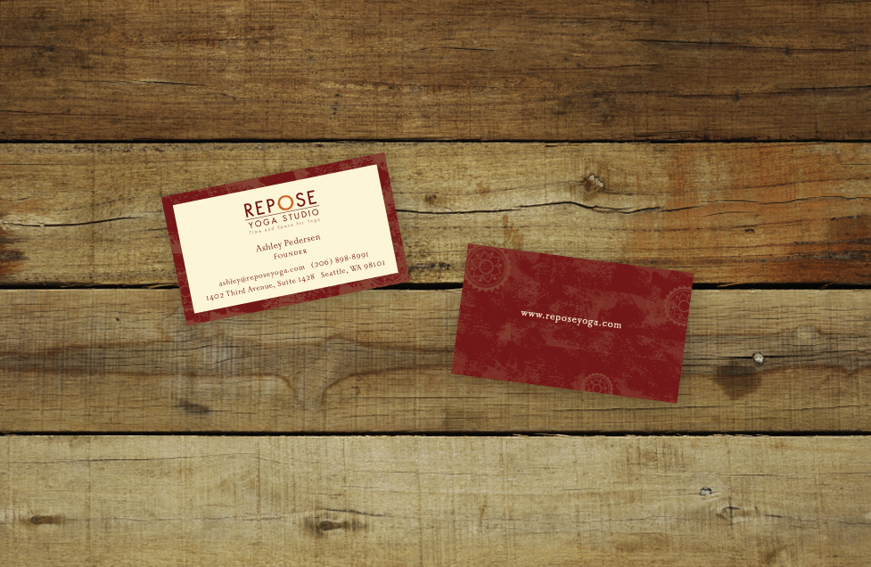 Repose Yoga Business Card Design by Dara Chilton with 7 Lucky Dogs Creative