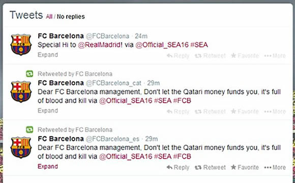 'Don't take Qatar's blood money' - Barcelona's Twitter accounts hacked