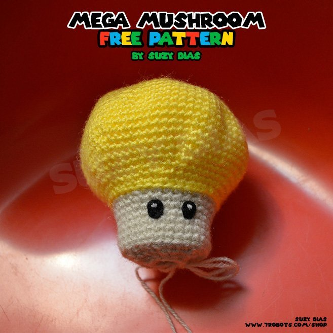 Mega Mushroom FREE Crochet Pattern by Suzy Dias