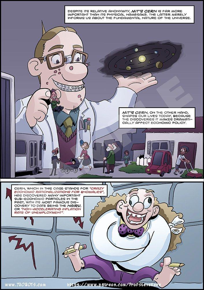Steve Keen CERN/Ferir comic (update 2). Art by Miguel Guerra.