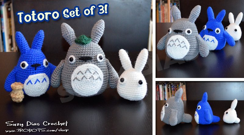 Crochet Tototro Set of 3 by Suzy Dias