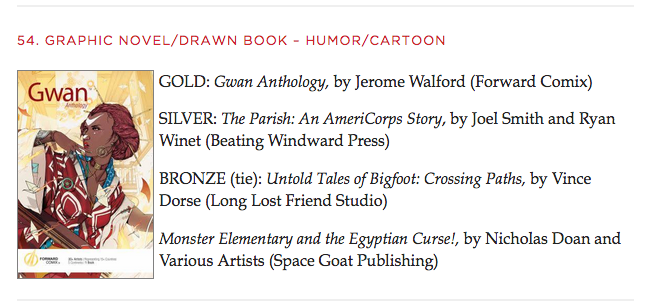 Gwan Anthology won an Independent Publishers Book Award Gold Medal 2017