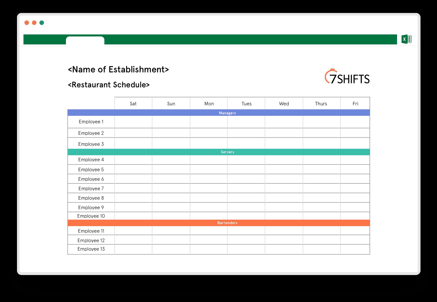 Restaurant Schedule Excel Template 7shifts