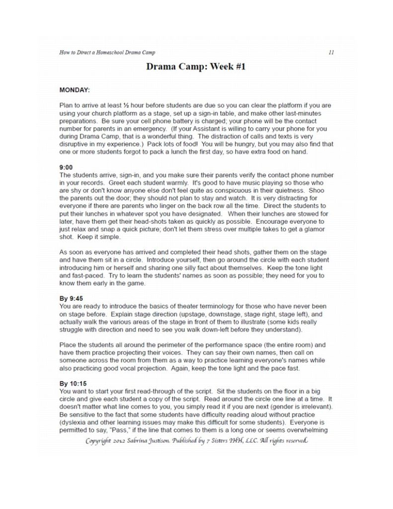 Excerpt from How to Direct a Drama Camp