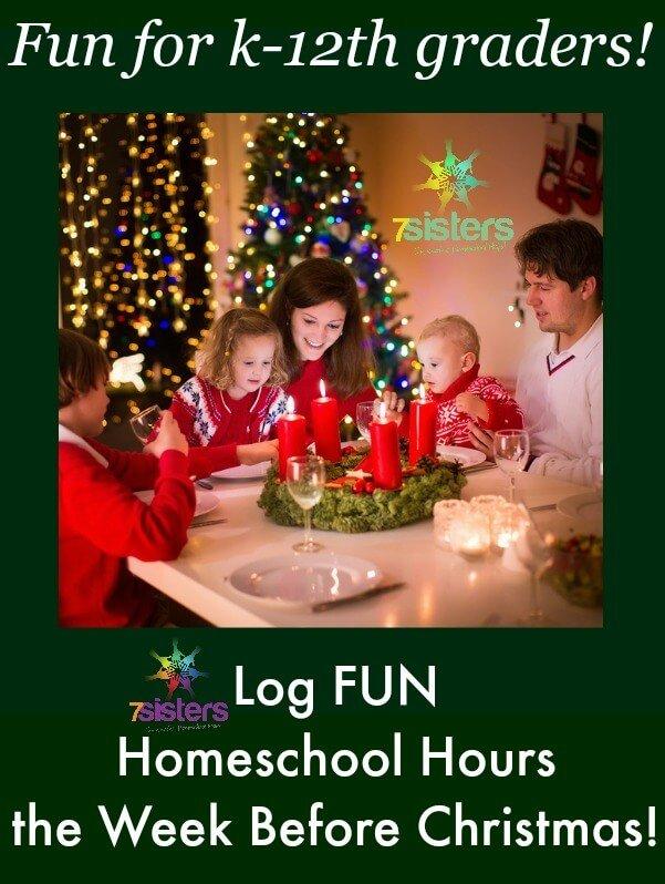 Log FUN Homeschool Hours During the Week Before Christmas with 7SistersHomeschool.com's Week Before Christmas activity bundle. Fun, affordable, logged educational hours.