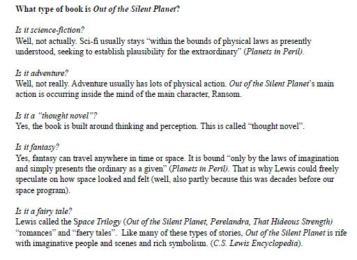 Out of the Silent Planet Study Guide Excerpt