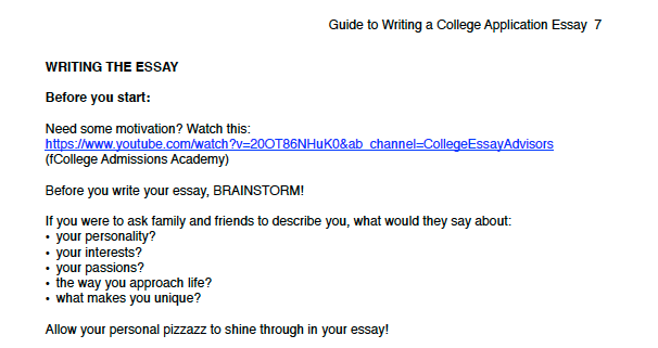 excerpt guide to writing a college application essay