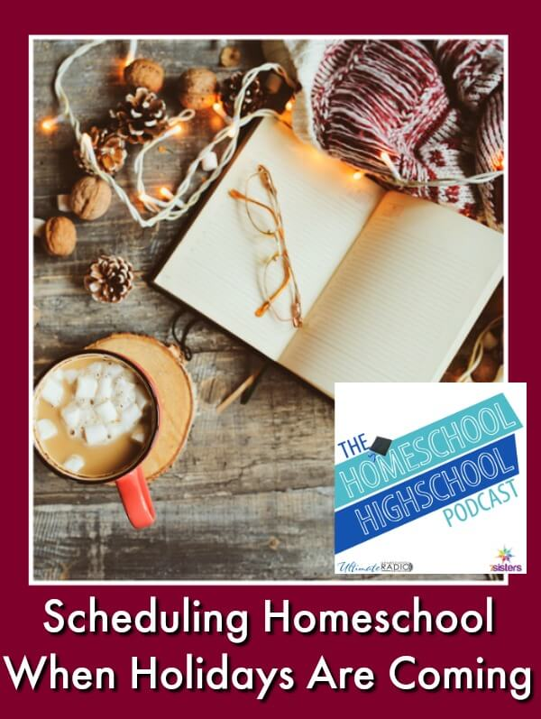 HSHSP Ep 128: Scheduling Homeschool When the Holidays Are Coming #HomeschoolPlanning #HomeschoolAndHolidays #HomeschoolingDuringHolidays #MidYearAdjustments #HomeschoolHighSchool #HomeschoolHighSchoolPodcast This photo shows a planner, glasses, cup of hot chocolate, walnuts and Christmas lights that someone is using to plan the homeschool holiday projects.
