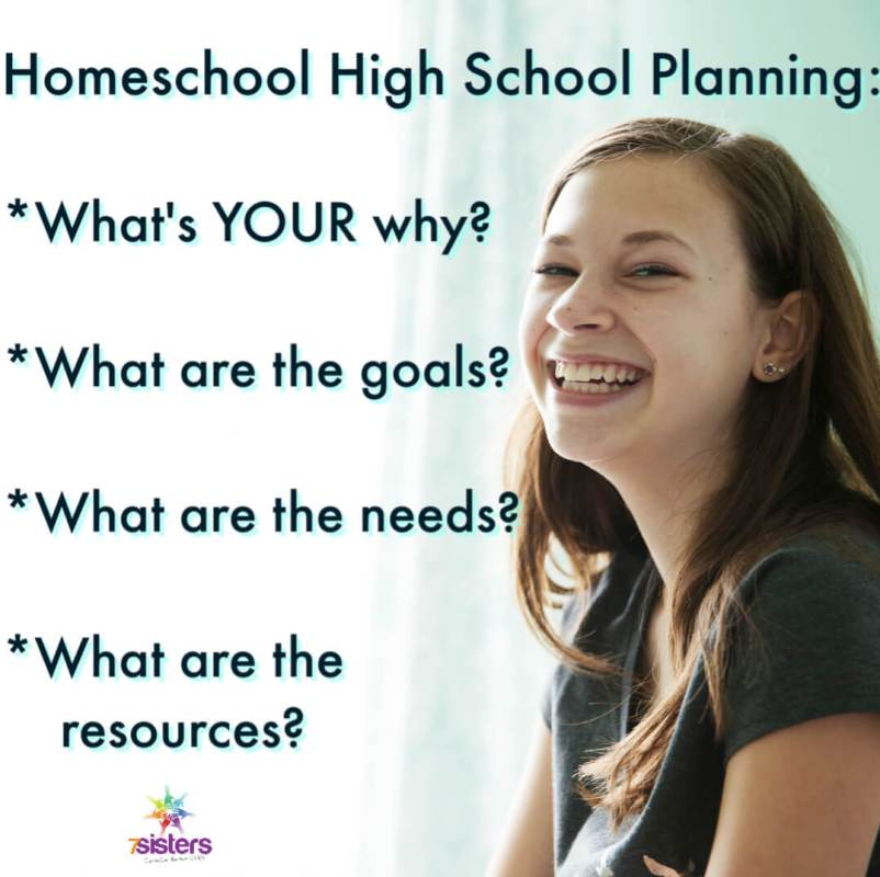 Homeschool High School Planning: *What's YOUR why? *What are the goals? *What are the needs? *What are the resources? 7SistersHomeschool.com can help with this!