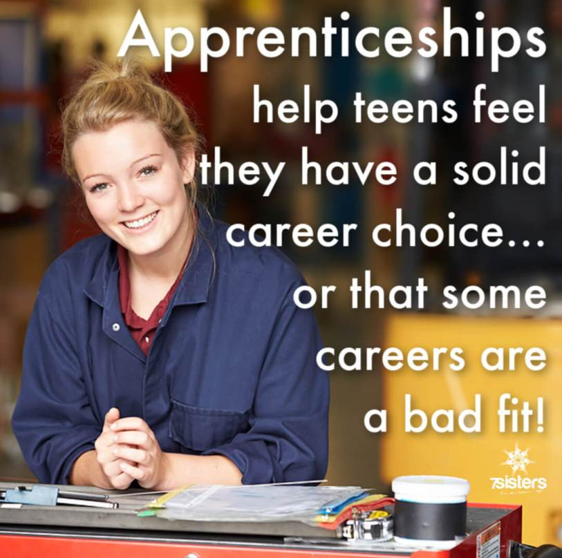 Apprenticeships help teens feel they have a solid career choice or that some careers would be a bad fit.