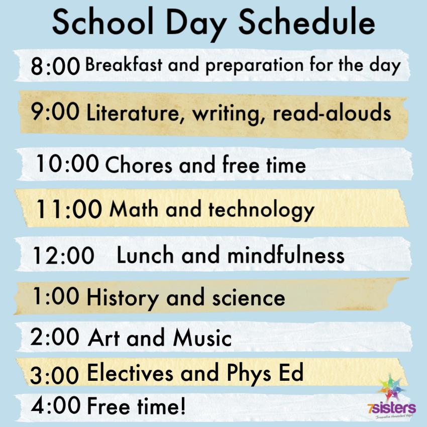School Day Schedule for High School. 7SistersHomeschool.com