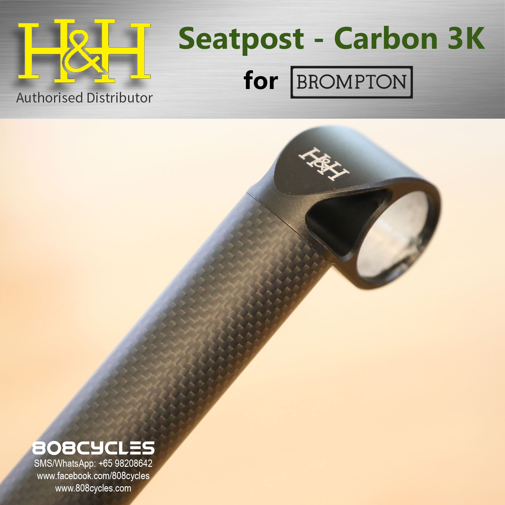 H/&H Carbon 12K Seatpost 520mm 600mm Extended 31.8mm Brompton