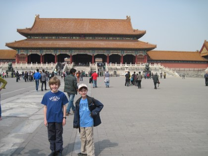 Two of the 80 Diapers kids visit the Forbidden City