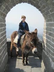 Lemmy rides a donkey ON the Great Wall