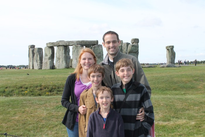 The author's family stands in front of Stonehenge