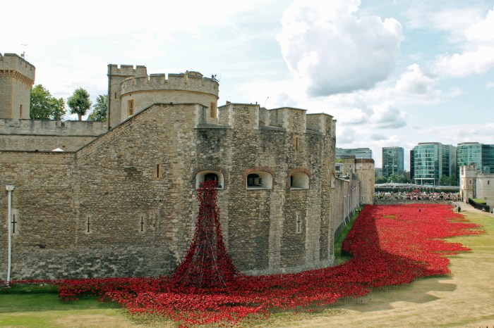 Image of the exterior walls of the Tower, with an art installation that features red metal poppies which appear to pour out of one of the windows of the wall and spread along the grassy floor of the moat.