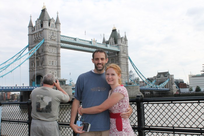 The author and her husband in front of the Tower of London Bridge.