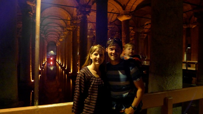 The author and his family in an underground vaulted cavern
