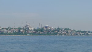 A view of the Blue Mosque from across a river