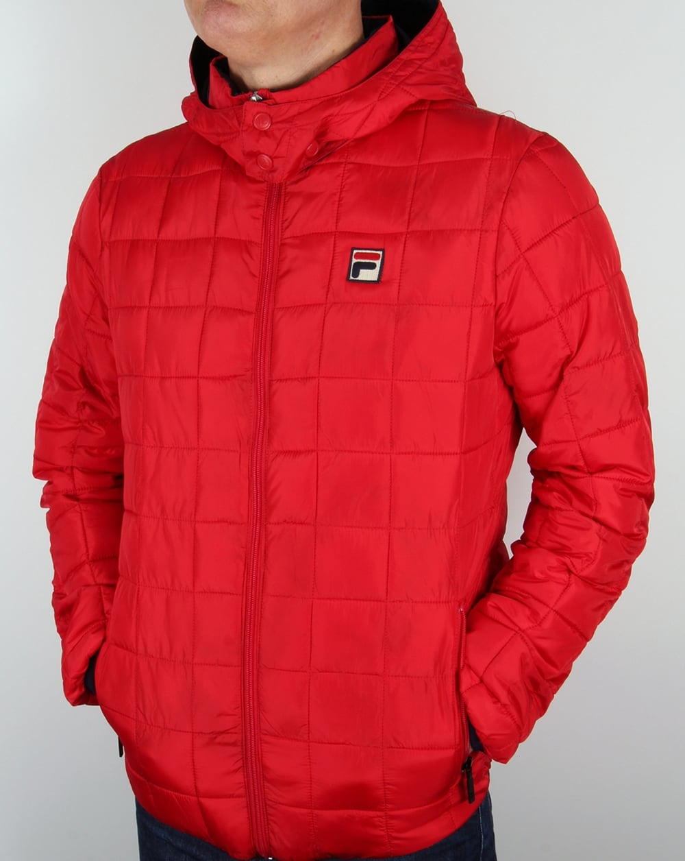 Fila Vintage Passo Quilted Jacket Red Coat Padded Hooded Mens
