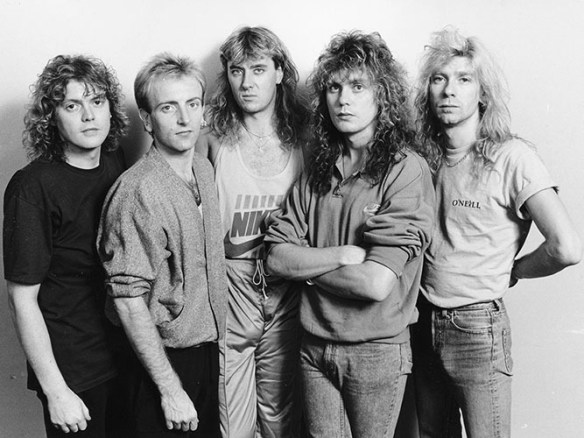 Portrait of the band 'Def Leppard', prior to their home town concert in Sheffield, England, October 9th 1987. (Photo by Dave Hogan/Getty Images)