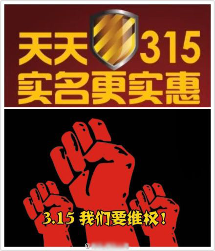 """Everyday 315 real name registration is more solid. / 3.15 We demand rights!"" The image of a shield references the Great Firewall's official name, The Golden Shield Project."