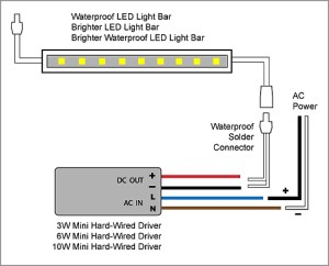 88Light  LED Light Bar to Adapter and Driver wiring diagrams