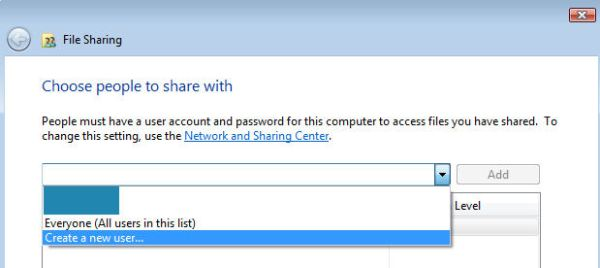 Microsoft Windows Vista - Create a new user for the shared folder