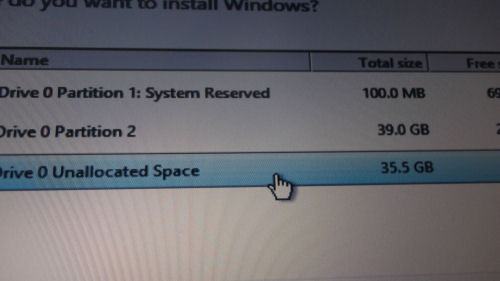 Windows 8 used the unallocated space
