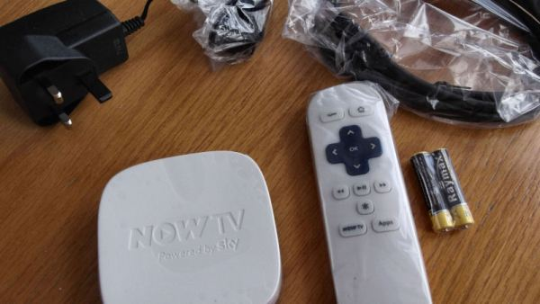NowTV box, adapter and remote control