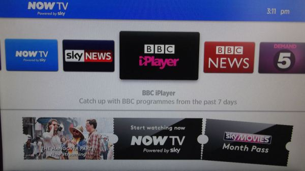 NowTV home screen