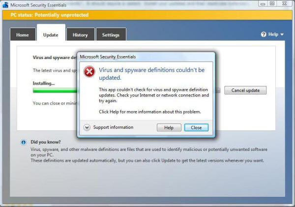 Microsoft Security Esssentials Error