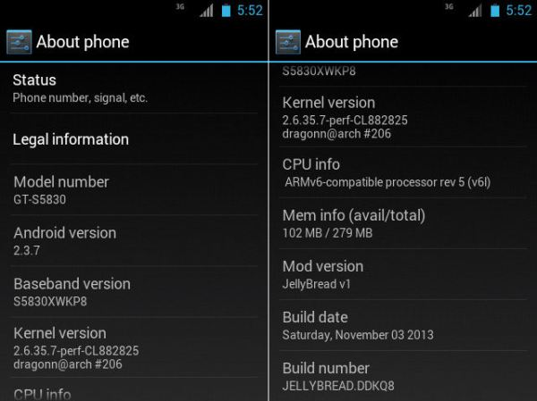Samsung Galaxy ACE GT-S5830 JellyBread custom rom Screenshots 3