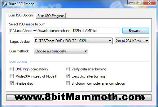 XBMC Write Disc Image