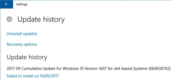 Windows 10 Update Failed to Install