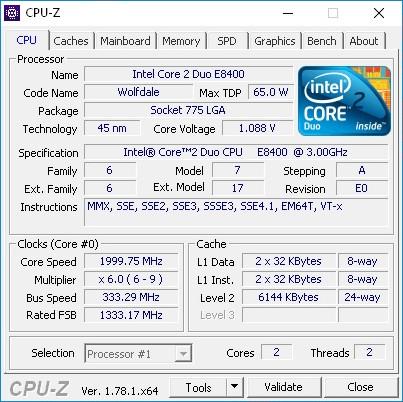 CPU-Z E8400 3GHz