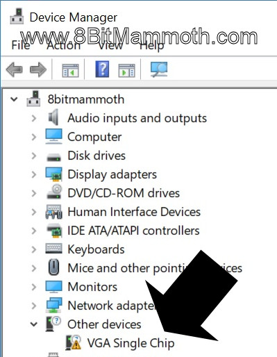 Device Manager VGA Single Chip