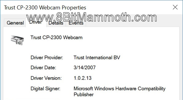 Trust CP-2300 Webcam Properties