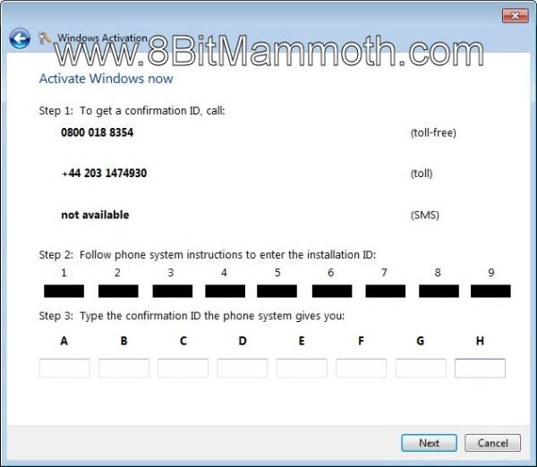 Windows Activation confirmation ID
