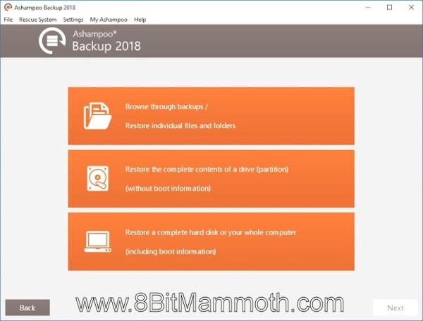 Ashampoo Backup 2018 Show backup contents